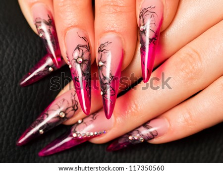 Manicure. Relaxation in spa salon. Woman fingers
