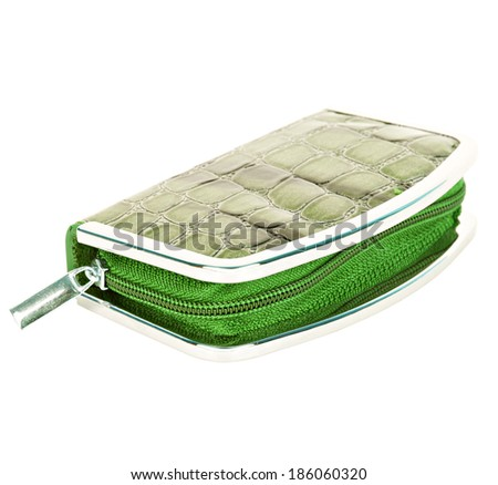 Manicure set closed green case with imitation of alligator leather isolated on white background