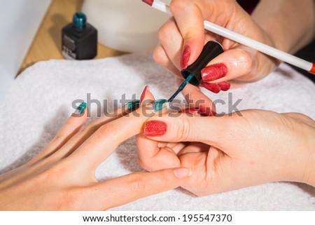 manicure treatment - stock photo