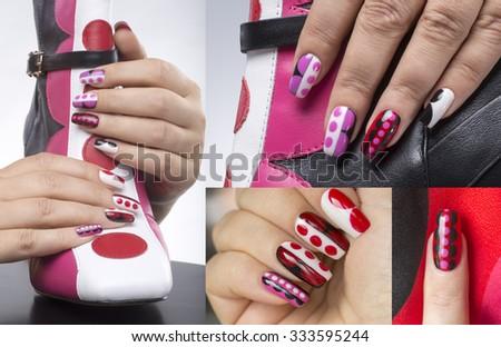 Manicure with bright geometric pattern - stock photo