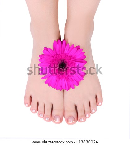 manicured feet with flower isolated on white - stock photo