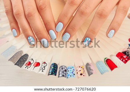 Manicured Hands Nail Art Samples Woman Stock Photo Royalty Free