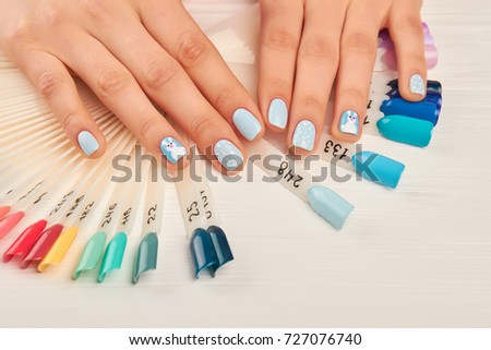 Manicured Hands Nail Color Samples Female Stock Photo (Royalty Free ...