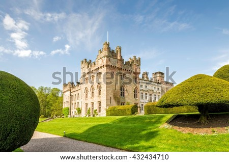 Manicured lawns outside Hutton in the Forest, Cumbria, England - stock photo