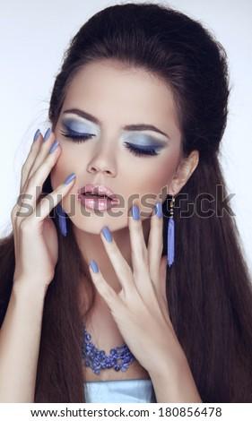 Manicured nails. Makeup. Glamour Fashion Beauty Woman Portrait.  - stock photo