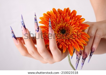 manicured nails with orange flowers - stock photo
