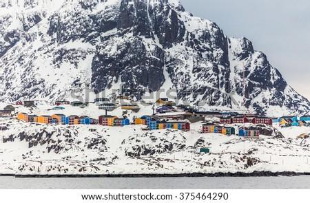 Maniitsoq, the 6th largest Greenlandic city, Greenland May 2015 - stock photo