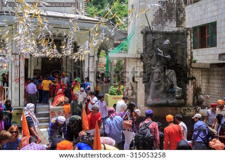 MANIKARAN, HIMACHAL PRADESH, INDIA - 17 JUN: Lord Shiva Templ in Manikaran, India - 17 JUN 2015. Manikaranâ??s temple of Lord Shiva is regularly visited by hundreds of pilgrims from across the country
