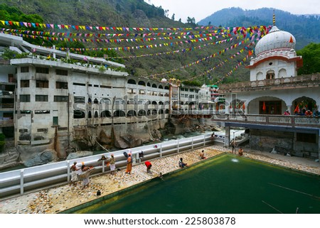 MANIKARAN, INDIA - CIRCA MAY 2014: View of the Manikaran. Manikaran with thermal springs is a pilgrimage centre for Hindus and Sikhs, Himachal Pradesh, North India. - stock photo