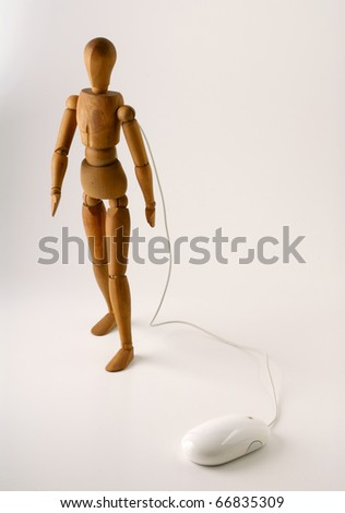 manikin controlled by a mouse - stock photo