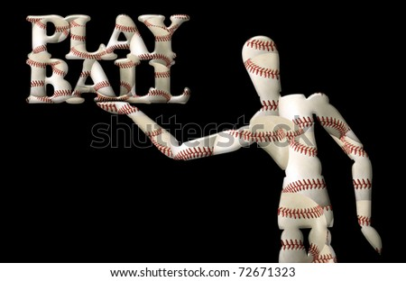 "Manikin holds words ""play ball."" Both contain baseball shapes - stock photo"