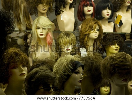 maniking heads in a wig store