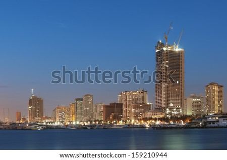 Manila Bay at night, Manila - Philippines - stock photo