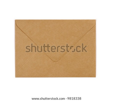 Manila brown paper envelope isolated on white background