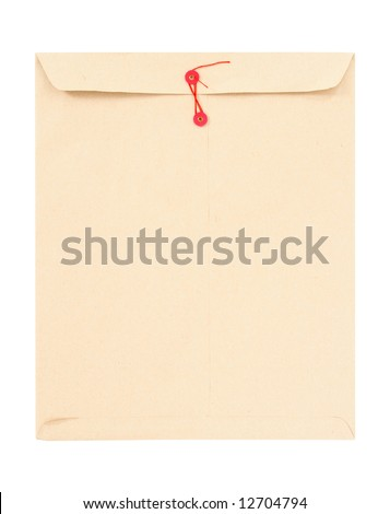Manila envelope with red string isolated on white.