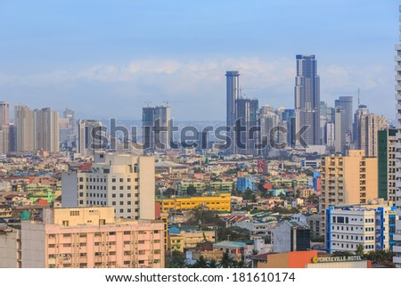 MANILA - FEB 12: city scape of manila on 12 Feb, 14 in Manila. Manila is the capital of the Philippine which located on the eastern shores of Manila bay. - stock photo