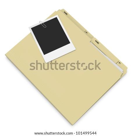 Manila folder with attached polaroid photo on white background - stock photo