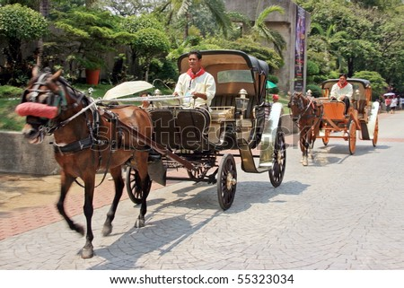 MANILA - JUNE 12: Man prepare the carriage for The Philippine Independence Day on June 12, 2010 in Manila, Philippines. The Independence commemorates the 112th anniversary with parade & exhibitions