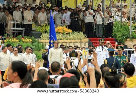 MANILA - JUNE 30: Pres. Benigno Aquino III made the military pass in review in The Inauguration on June 30, 2010 in Manila Philippines. Pres. Aquino is the 15th president of the Philippines