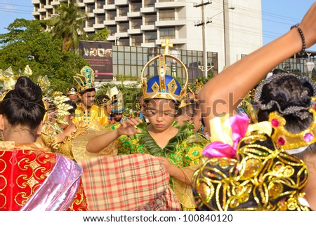 MANILA, PHILIPPINES - APR. 14: performer getting ready their outfits during Aliwan Fiesta, which is the biggest annual national festival competition on April 14, 2012 in Manila Philippines. - stock photo