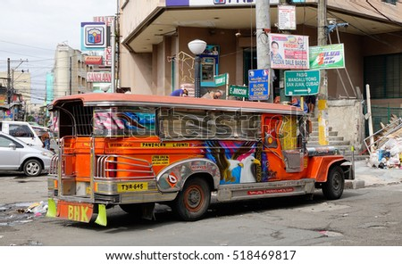 Manila, Philippines - Dec 20, 2015. A jeepney parking on street in Manila, Philippines. Jeepney is a most popular public transport on Philippines.