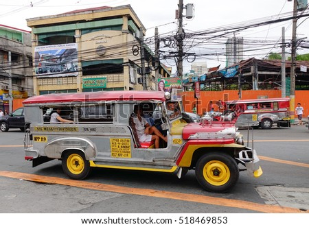 Manila, Philippines - Dec 20, 2015. Jeepney running on street in Manila, Philippines. Jeepney is a most popular public transport on Philippines.