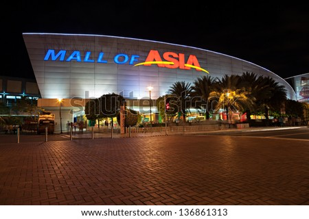 MANILA, PHILIPPINES - FEBRUARY 23: SM Mall of Asia (MOA) is a 2nd largest mall in the Philippines on February 23, 2013 in Manila, Philippines. It has a land area of 42 hectares.