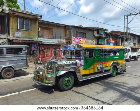 MANILA, PHILIPPINES - JULY 19, 2015 : Colorful Jeepney. Jeepney is a most popular public transport on Philippines.