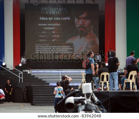 MANILA – SEPT. 3: Pacquiao & Marquez at the World Press Tour at Quirino Grandstand on September 3, 2011 in Manila, Philippines. The events start to drum up support for their Nov. 12 bout in Las Vegas. - stock photo