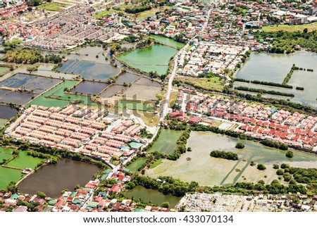 Manila suburb, view from the plane, Philippines - stock photo