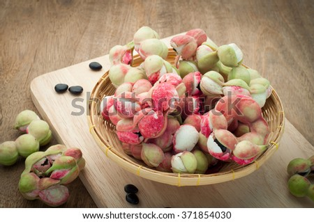 Manila tamarind , Pithecellobium dulce , Ripe Pithecellobium dulce bean on basket. - stock photo