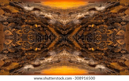 Manipulation of sunset rock formation in beach - stock photo