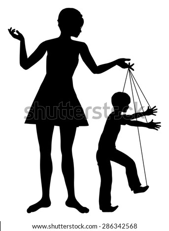 Manipulative Mother. Concept sign of parent manipulating her child like a marionette - stock photo