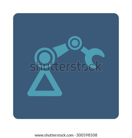 Manipulator icon. This flat rounded square button uses cyan and blue colors and isolated on a white background. - stock photo