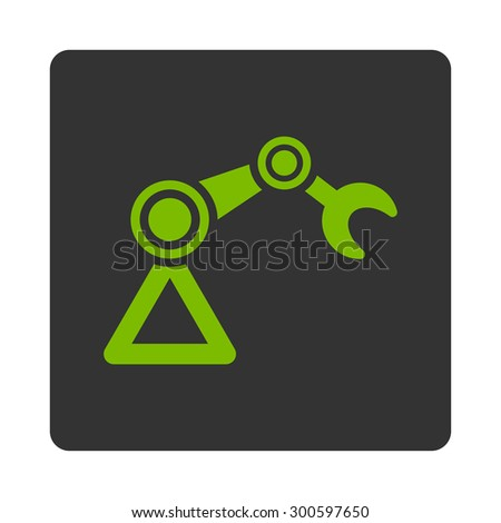 Manipulator icon. This flat rounded square button uses eco green and gray colors and isolated on a white background. - stock photo