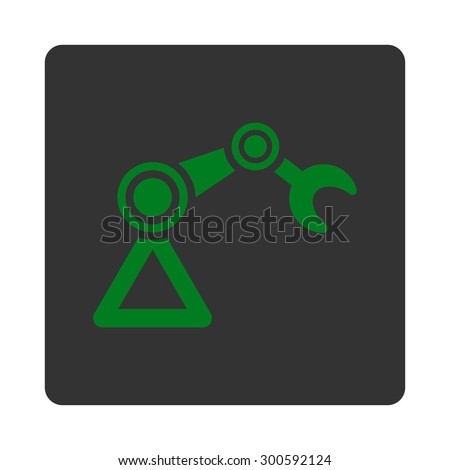 Manipulator icon. This flat rounded square button uses green and gray colors and isolated on a white background. - stock photo