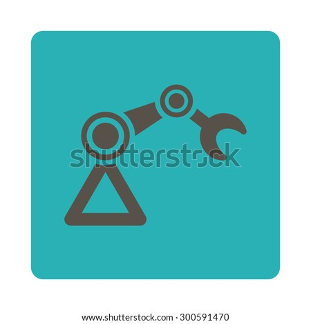 Manipulator icon. This flat rounded square button uses grey and cyan colors and isolated on a white background. - stock photo