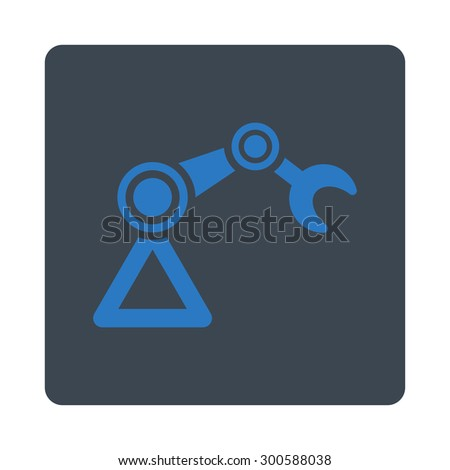 Manipulator icon. This flat rounded square button uses smooth blue colors and isolated on a white background. - stock photo