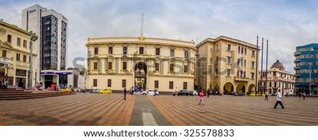 MANIZALES, COLOMBIA -  FEBRUARY 22, 2015: Beautiful view of Bolivar square in Manizales
