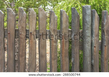 Manmade Wooden Fence, Retro Style, Background, Pattern, Texture - stock photo