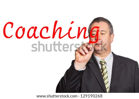 Mann schreibt Coaching - stock photo