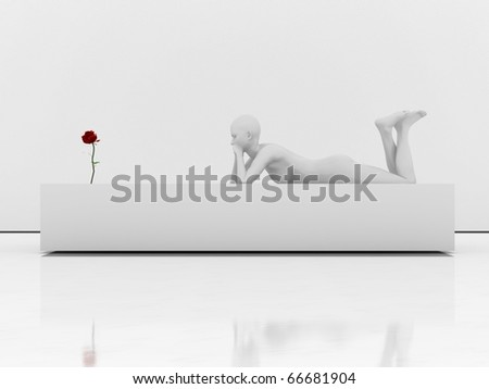 mannequin and a red rose - stock photo