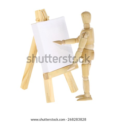 Mannequin Artist Painting on Canvas with Easel - stock photo