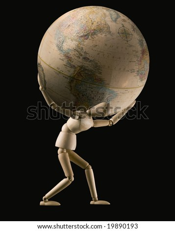 mannequin carrying globe on shoulders