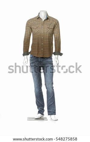 mannequin dressed in cotton plaid shirt dress collection in jeans - Full length