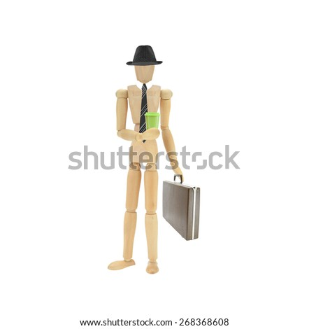 Mannequin Entrepreneur Businessman dress in hat tie holding travel coffee mug and briefcase isolated on white background