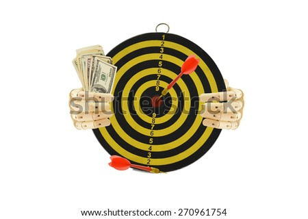 Mannequin hands holding yellow and black target dart board with red darts and one hundred dollar bills  isolated on white background - stock photo