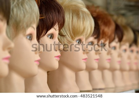 mannequin head in wigs