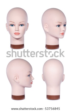 Mannequin head shot from the front, side, profile, and back