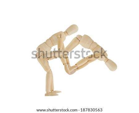 Mannequin helping another Flip over isolated on white background